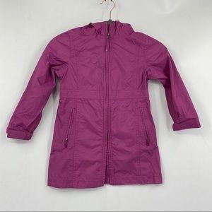 L.L Bean Girls pink hooded full zipper rain jacket